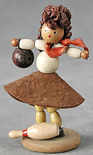 Vintage Wooden Beaded Girl & Boy Bowlers