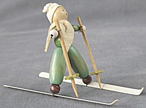 Vintage Wooden Beaded Skier