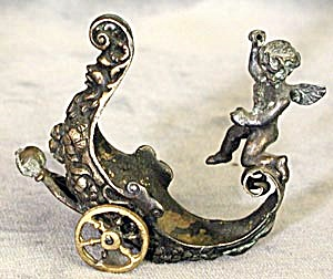 Antique Minature Metal Putti In Chariot