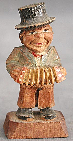 Vintage Carved Wooden Man Playing Accordion
