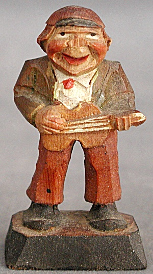 Vintage Carved Wooden Man Playing Fiddle