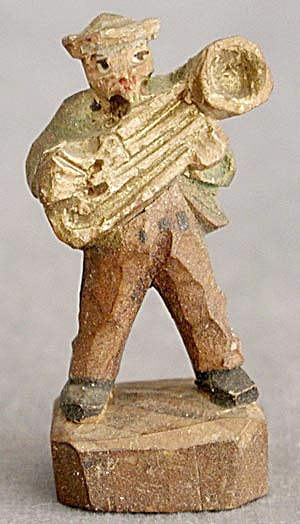 Vintage Carved Wooden Man Playing a Sousaphone (Image1)