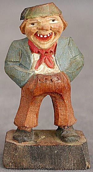 Vintage Carved Wooden Man Smiling