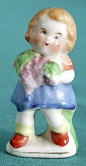 Vintage Occupied Japan China Girl with Flowers Figurine (Image1)