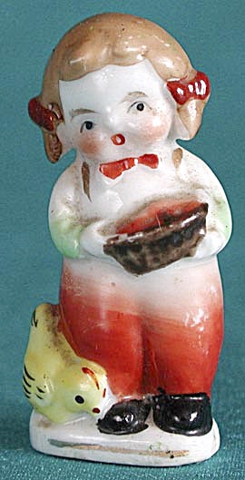 Vintage Occupied Japan China Girl with Chicks Figurine (Image1)