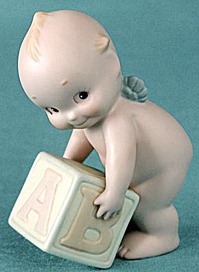 Vintage Rose O'neill Kewpie Holding A Baby Block
