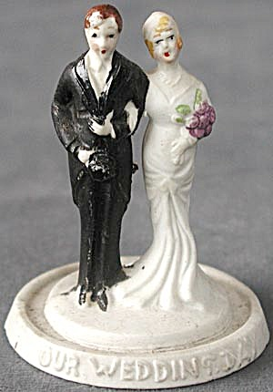 Art Deco Bride & Groom Wedding Cake Topper (People ) at ...
