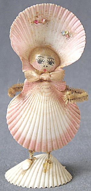 Vintage Tall Seashell Lady Figurine