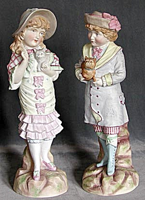 Antique Victorian Pair Of Bisque Figurines
