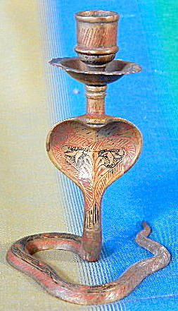 Vintage Etched And Enameled Brass Cobra Candle Holder
