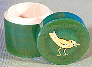Vintage Green Lacquer Wooden Bird Box