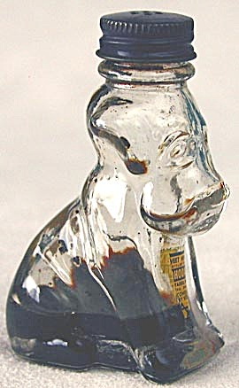 Vintage Glass Figural Dog Bottle