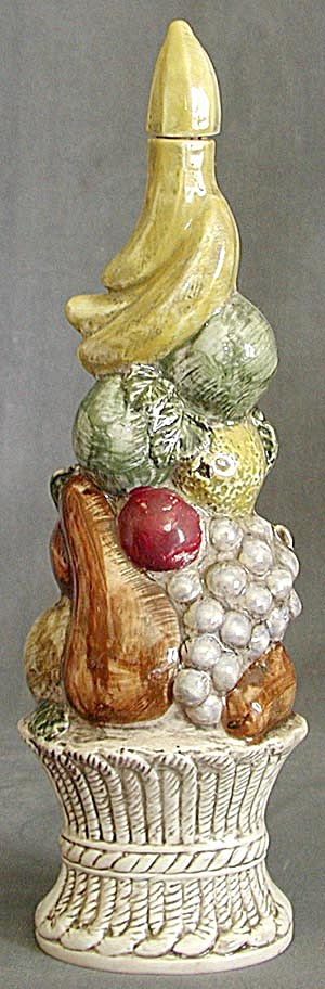 Vintage Basket Of Fruit Pottery Bottle