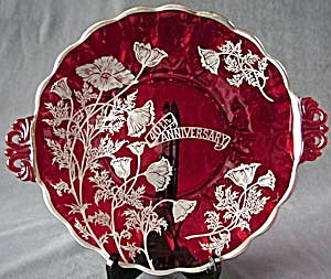 Sterling Silver Overlay On Ruby Red Glass Handled Plate (Image1)