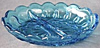 Vintage Fairfield Blue Glass Divided Dish