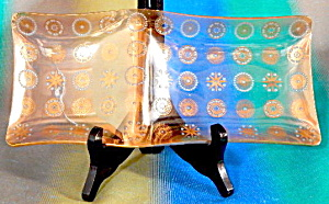 Vintage Long Divided Gold & Aqua Enamel Dots Dish