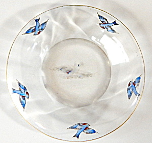 Antique Glass Bluebird Bowl