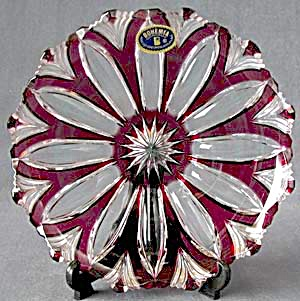 Red And Clear Cut Glass Fruit Plate