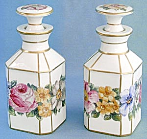Vintage Pair Of Porcelain Hand Painted Perfume Bottles