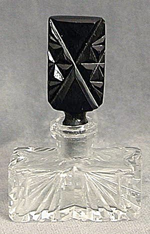 Vintage Czech Cut Glass Perfume With Black Stopper