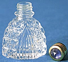 Vintage Crystal Perfume Bottle with Jewel Top (Image1)