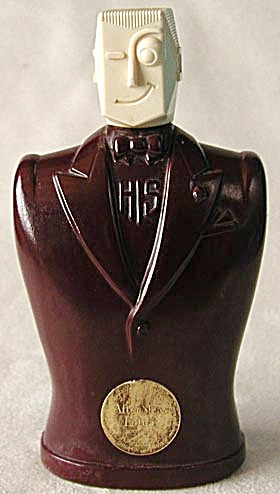 Vintage Art Deco HIS After Shave Lotion Bottle (Image1)