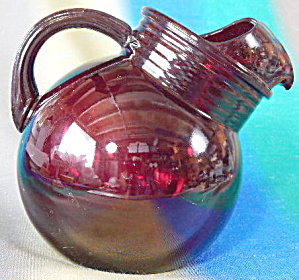 Depression ruby Red Glass Pitcher Tilted Ball Style