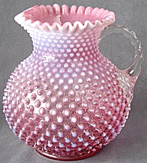 Ruffle Edge Cranberry Opalescent Hobnail Pitcher
