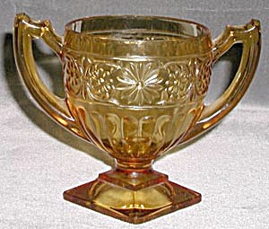Amber Depression Glass Daisy Sugar Bowl (Image1)