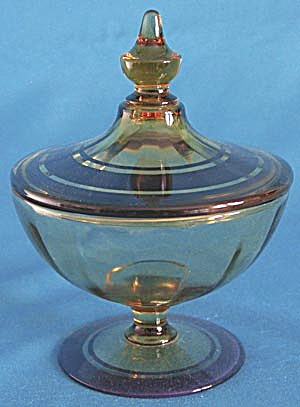 Vintage Amber and Blue Glass Candy Container (Image1)