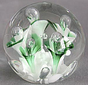 Vintage Art Glass Paperweight with Green Flowers (Image1)