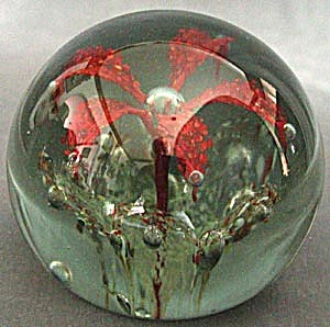Vintage Art Glass Paperweight with Flower (Image1)