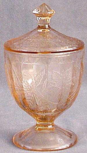 Floral Poinsettia Pink Depression Glass Covered Candy  (Image1)