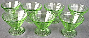 Vintage Block Optic Green Footed Sherbets Set Of 7