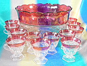 Vintage Red Flash Glass Punch Bowl & 12 Cups