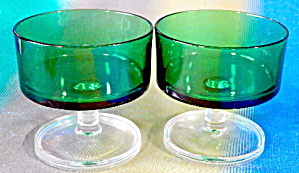 Emerald Body Clear Stem Glass Sherbet Dessert Cups