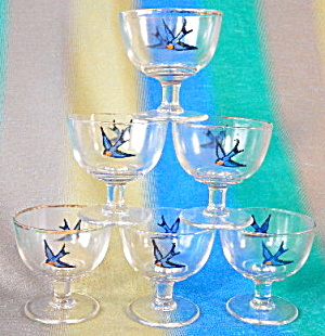 Bluebird Glass Sherbets Set Of 6