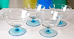 Wheel Cut Sherbets Aqua & Clear Set Of 4