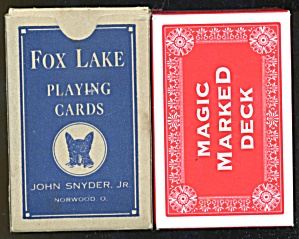 Vintage Fox Lake & Marked Playing Cards