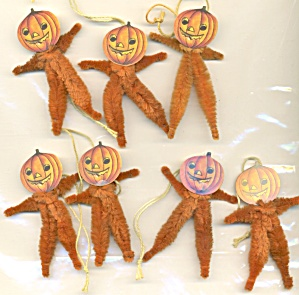 Vintage Chenille Pipe Cleaner Jack O Lantern Ornaments