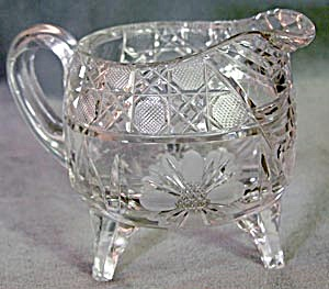 Vintage Cut Glass 3 Legged Creamer