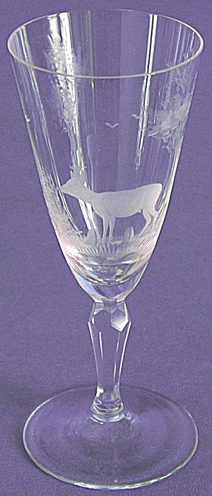 Vintage Engraved Animal Wine Glasses Set of 11 (Image1)