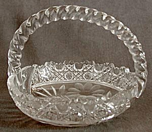 Vintage Cut & Pressed Glass Basket (Image1)