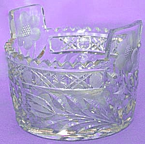 Vintage Flower Large Cut Glass Ice Bucket