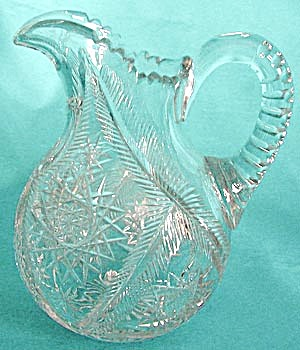 American Brilliant Cut Glass Heavy Pitcher