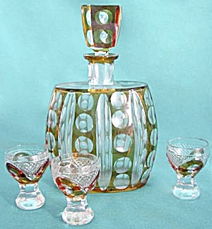 Vintage Amber and Clear Cut Glass Decanter & 3 Glasses (Image1)