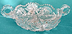 Vintage Cut Glass Divided Bowl