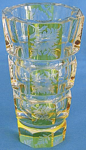 Vintage Octagon Yellow & Clear Cut Glass Vase