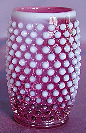 Fenton: Deep Cranberry & Opalescent Hobnail Tumbler (Image1)