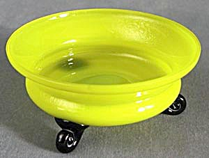 Vintage Yellow With Black Feet Glass Bowl